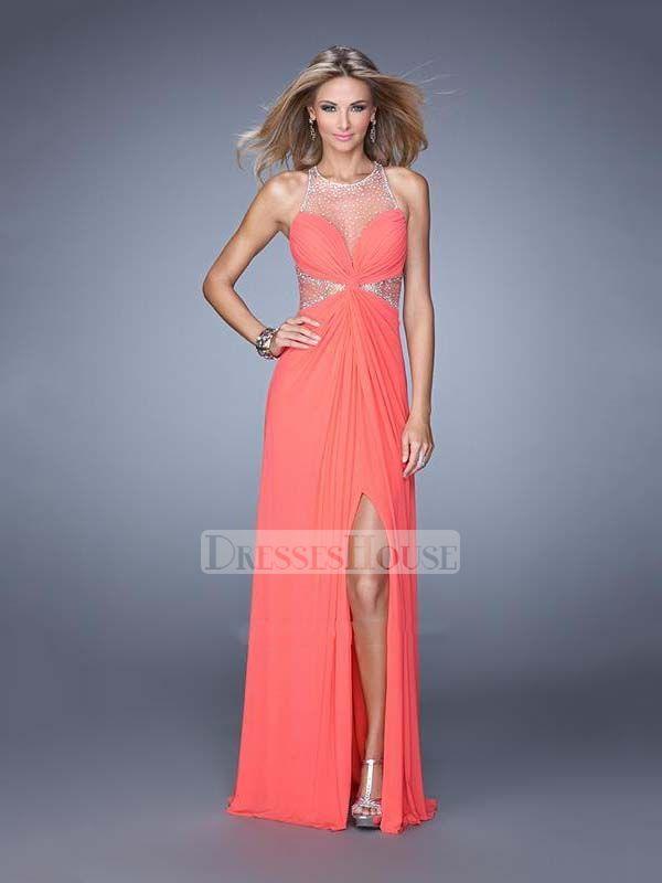 A-line Scoop Neckline Side Slit Sheer Back Chiffon Prom Dress PD12085