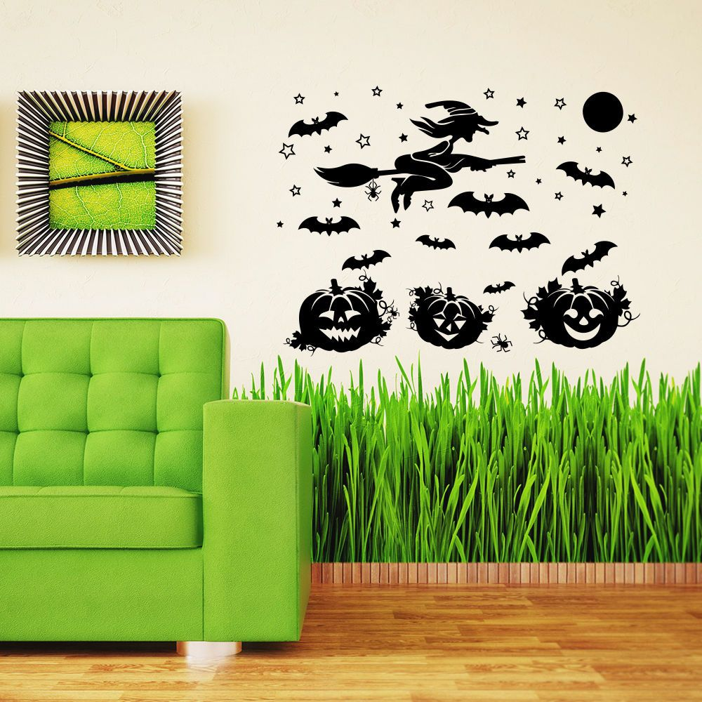 Halloween Wall Decal Witch Pumpkin Home Decoration Window Holiday - halloween window decor