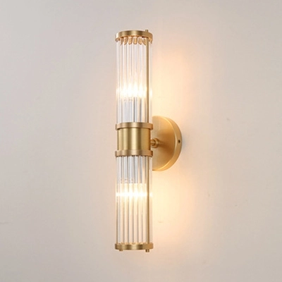 Simple Style Gold Wall Light Tube Shape 1 2 Heads Metal Clear Crystal Sconce Lamp For Living Room Wall Lights Gold Wall Lights Crystal Sconce