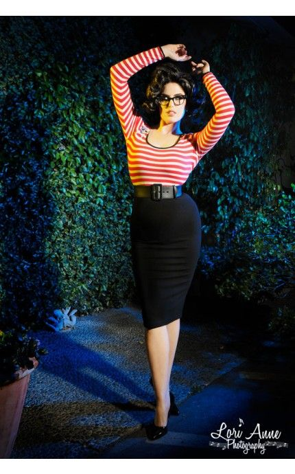 Hotrod Honey Dress in Red and White Stripe Knit - Deadly Dames - House Brands | Pinup Girl Clothing