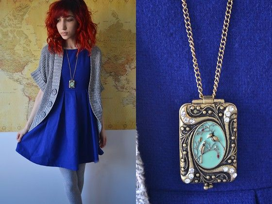 Estarer Bird Locket, Milanoo Skater Dress, Sister's Oversized Cardigan Sweater