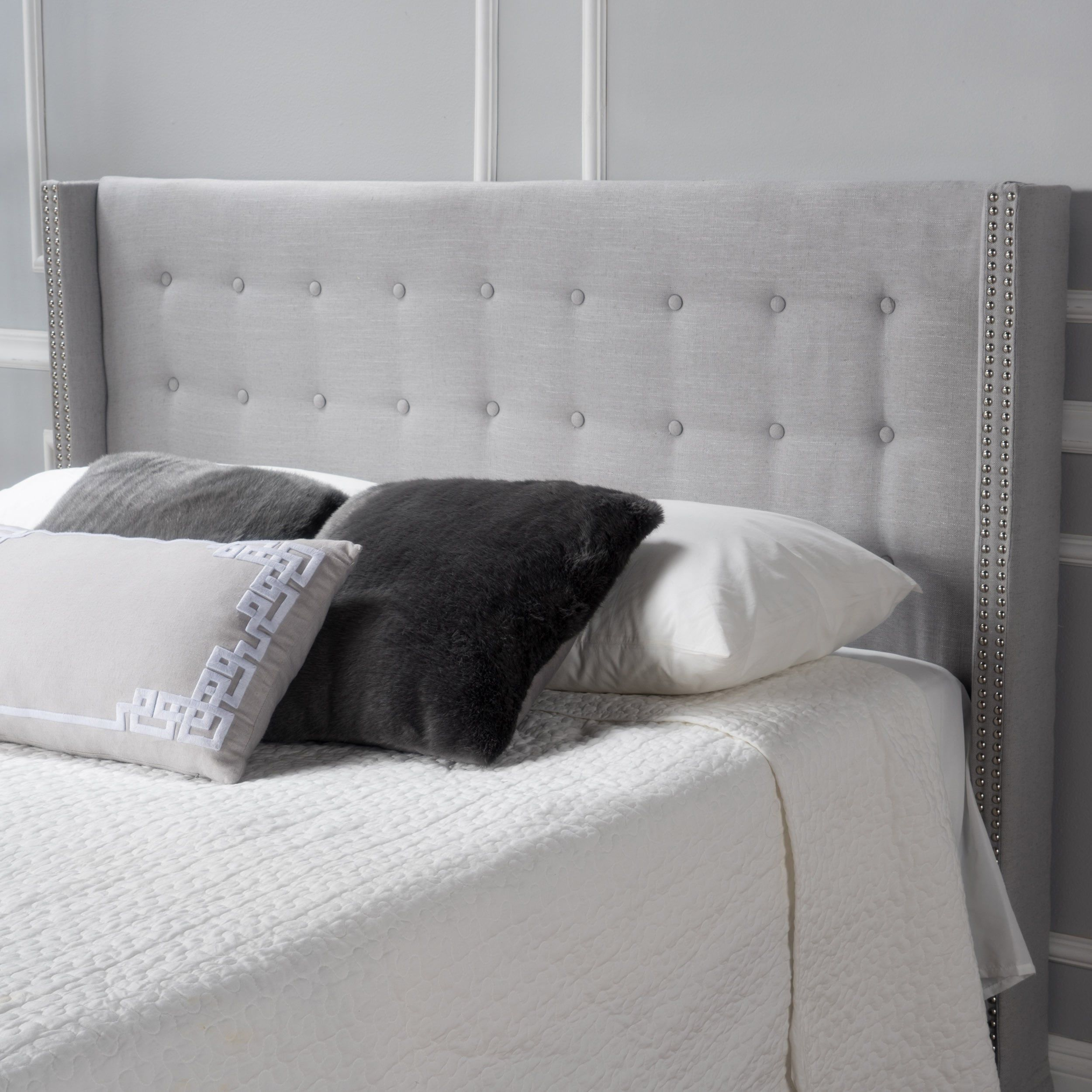 Kendrah Adjule Full Queen Wing Back Studded Fabric Headboard By Christopher Knight Home Ping The Best Deals On Headboards