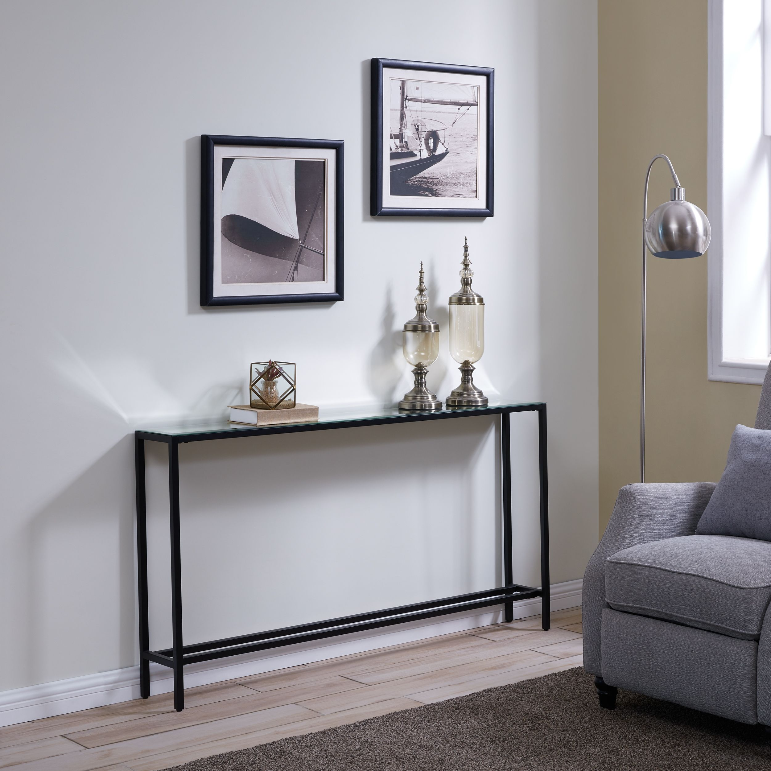 Blucat Narrow Long Console Table With Mirrored Top Gunmetal Gray Ashley Furniture Homestore Long Console Narrow Console Table Console Table