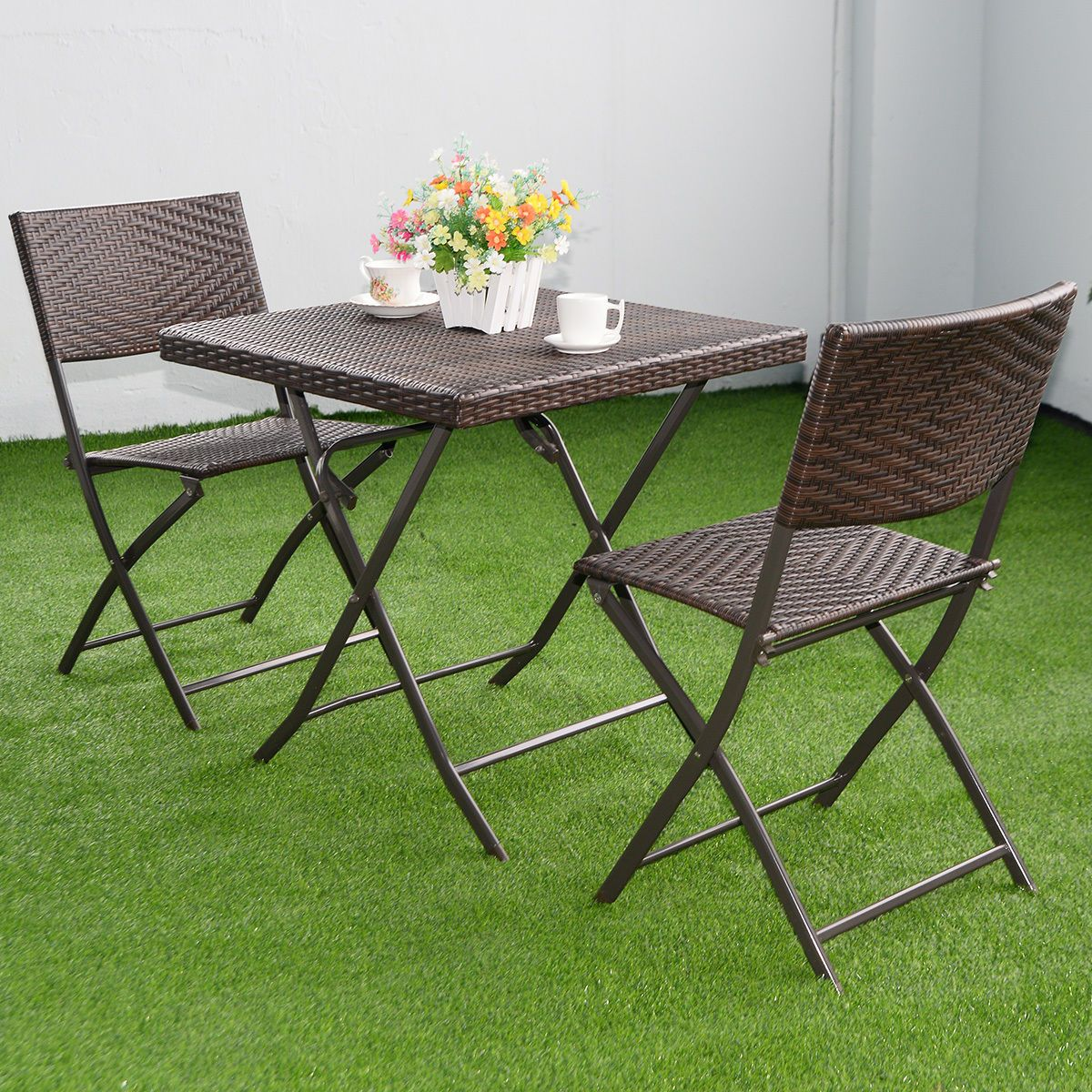 3 pc outdoor folding table chair furniture set rattan wicker bistro patio brown