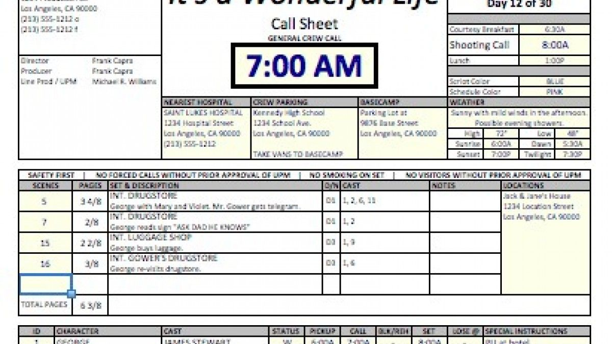 Casper\' Spreadsheet Template Makes Call Sheets and Production ...