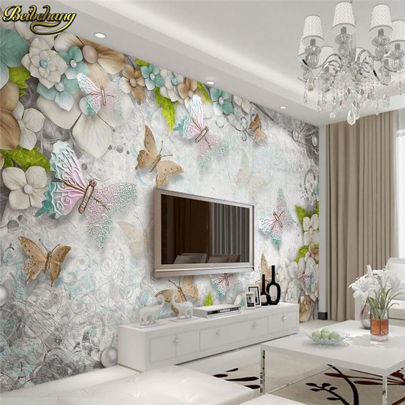 Painting Supplies & Wall Treatments Wallpapers 2019 Fashion Custom 3d Photo Wallpaper Living Room 3d Wall Mural Lotu Flower Jade Carvings Photo Picture Sofa Tv Background Non-woven Mural Colours Are Striking