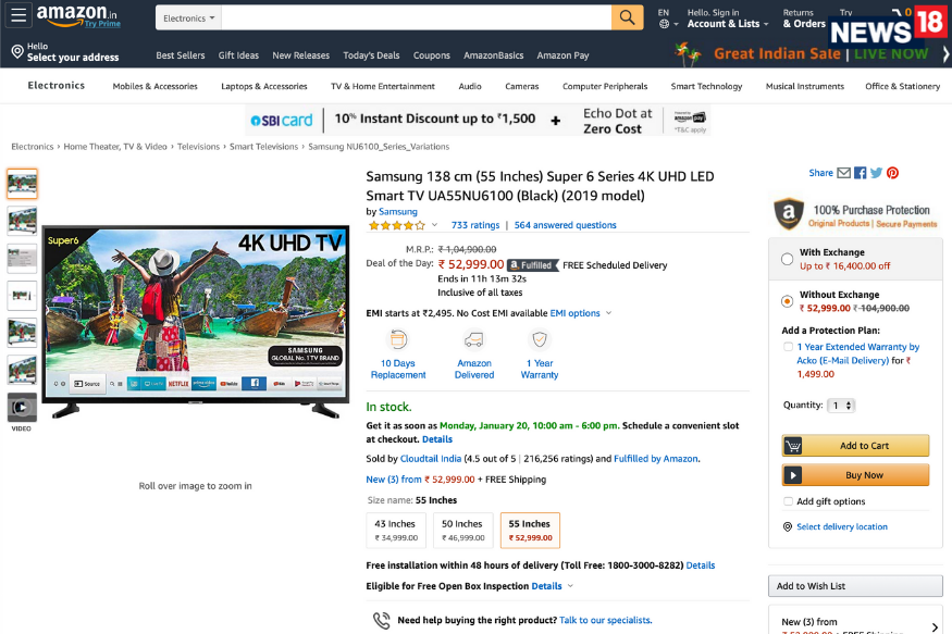 Amazon Great Indian Sale Buy This Samsung 55inch 4K TV