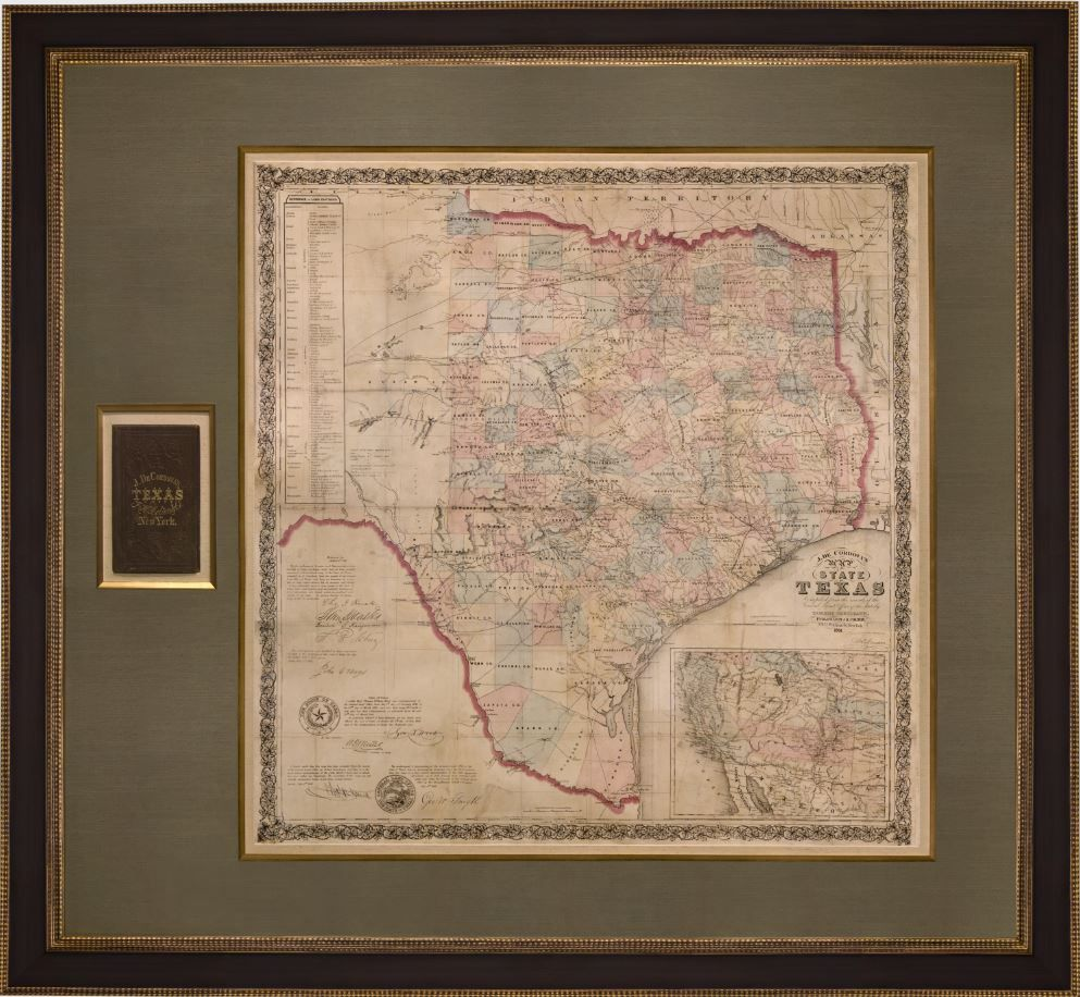 Map of Texas with original booklet in a beautifully hand-made frame ...