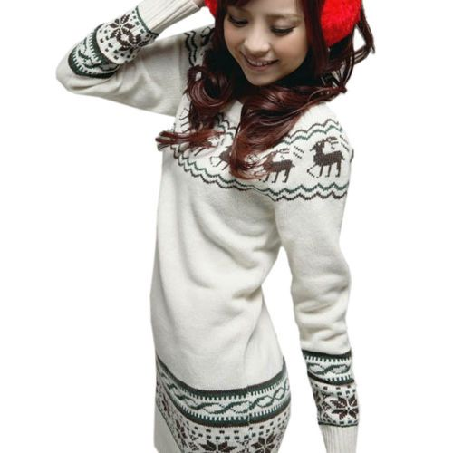 Womens Crew Neck Deer Snowflake Knit Sweater Jumper Knitwear Pullover Tops White | eBay