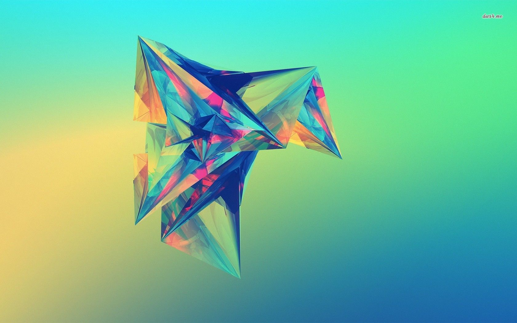 Colorful Glass Polygon Floating Wallpaper Abstract