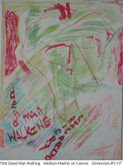 "Title: Dead Man Walking  Medium: Marker on Canvas 8"" x 10"" $375"