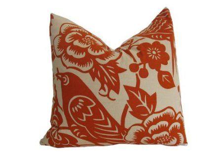 "$40.00 Amazon.com: Decorative Designer Pillow Cover-Thomas Paul Aviary in Tangerine-16""x16"": Home & Kitchen"