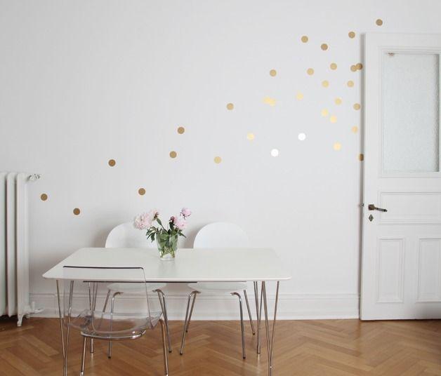 Amazing Wandtattoo Wandtattoo Wandsticker Dots Punkte Gold ein Designerst ck von Eulenschnitt bei DaWanda