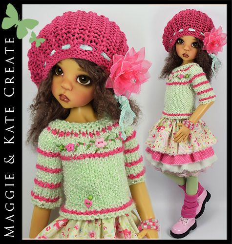 """OOAK Mint Green & Pink Outfit for Kaye Wiggs 18"""" MSD BJD by Maggie & Kate Create"""