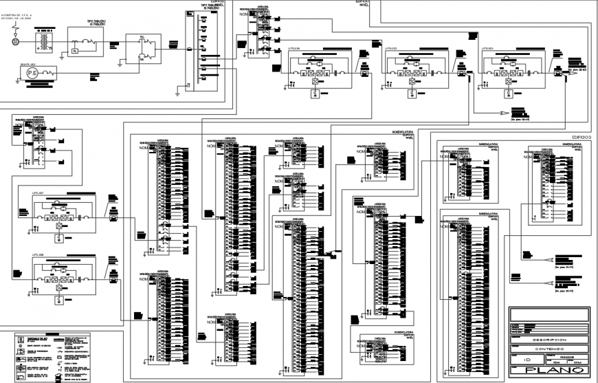 Electrical line diagram for office building drawing in dwg