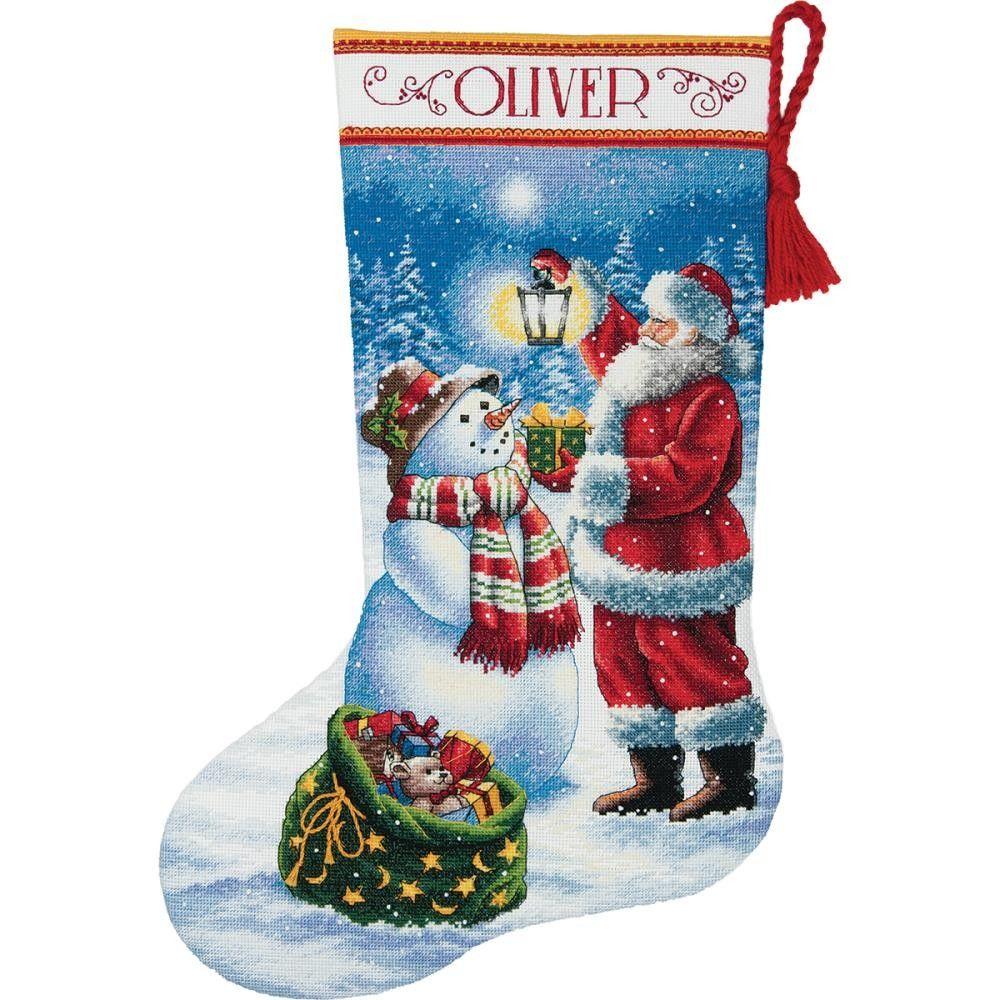 Holiday Glow Counted Cross Stitch Christmas Stocking Kit | Ideas ...