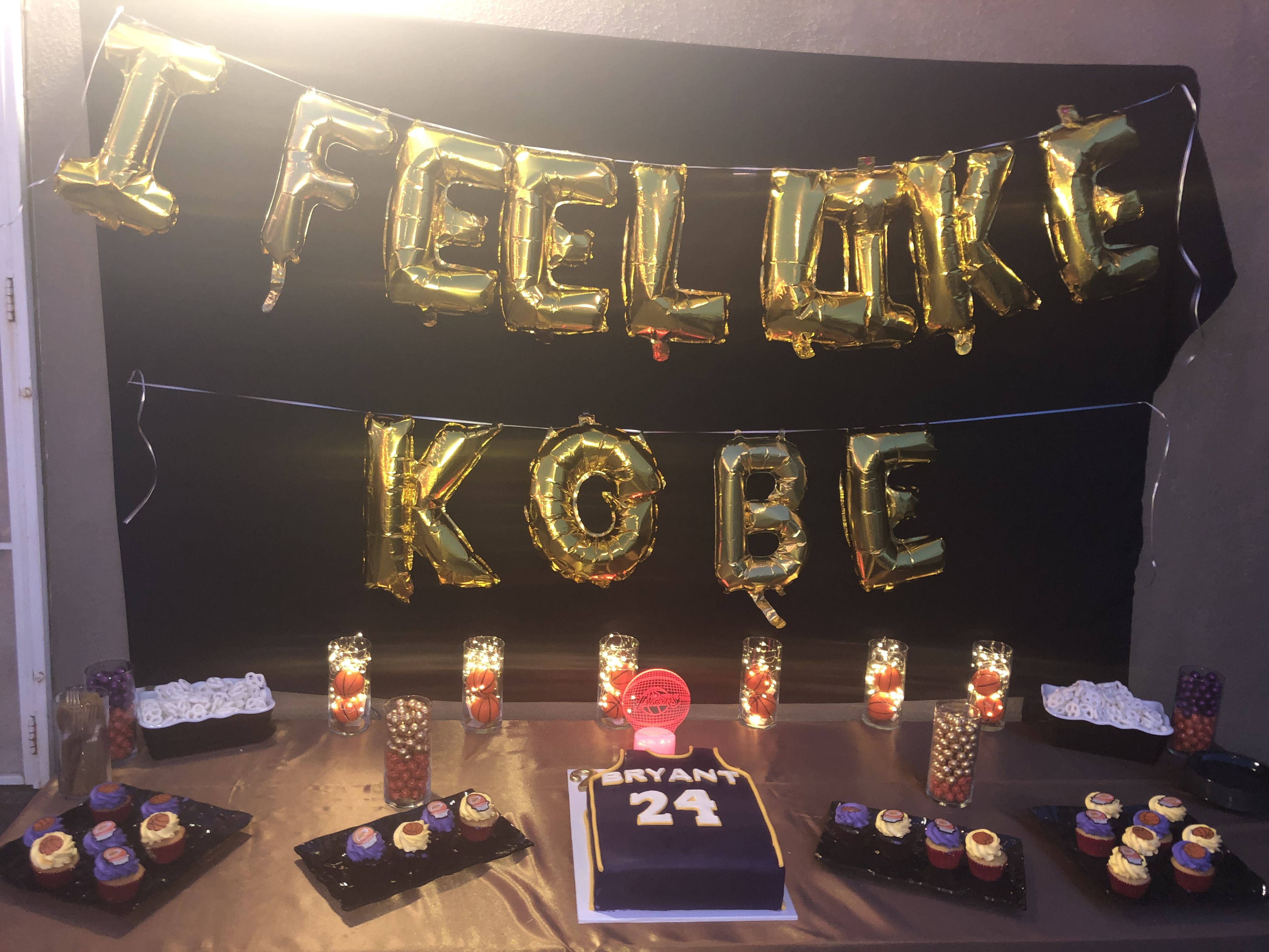 Lakers & KOBE themed dessert table 24th birthday, Themed