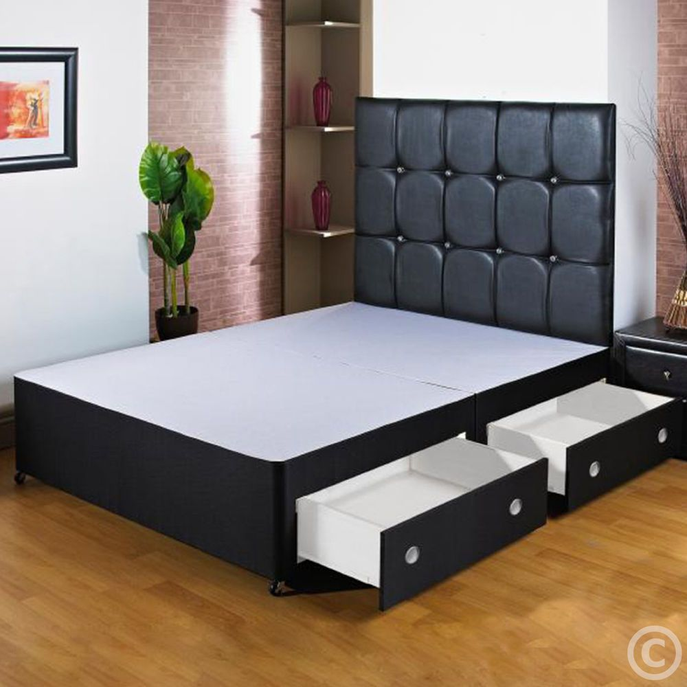 Divan Bed And Mattress Deals New 5ft Kingsize Black Divan Bed Base Storage Drawers Free Nextday
