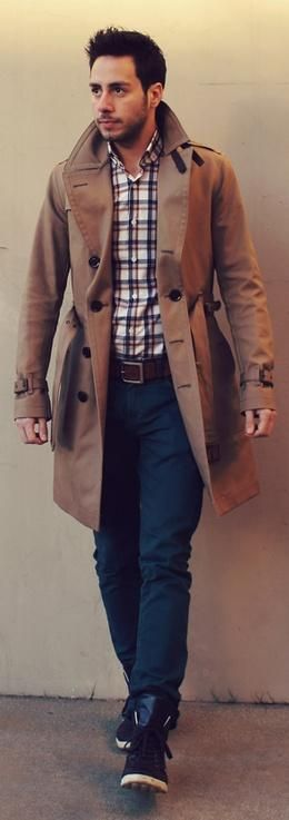 Adding a #trench coat can drastically #transform your #simple look - Love the plaid shirt WithStyle #MensFashion