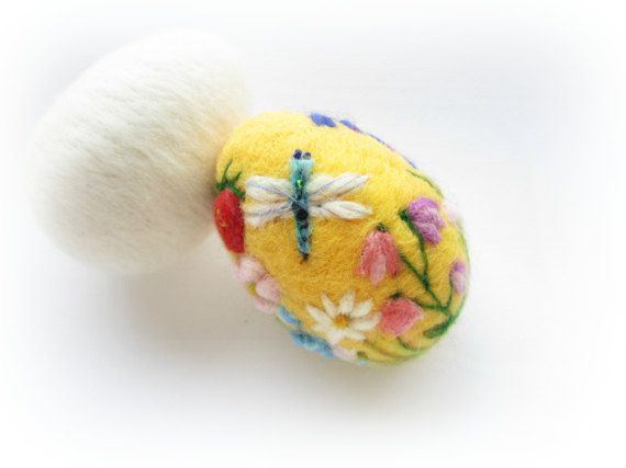 Needle Felted Easter egg ./'Ladybirds/' OOAK Easter decoration