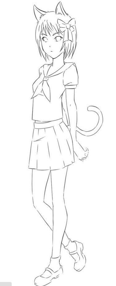 как нарисовать аниме девушку в полный рост карандашом ...