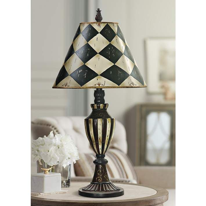Harlequin And Stripe Black And Antique White Urn Table Lamp 2f908 Lamps Plus In 2021 White Urn Black And White Furniture Lamp