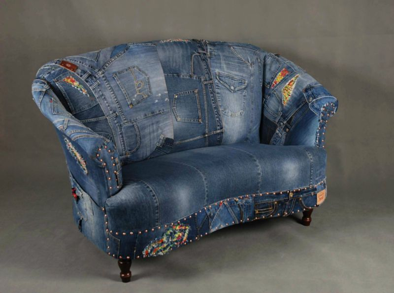Great Jeans Patchwork Denim Sofa Chair Armchair   London