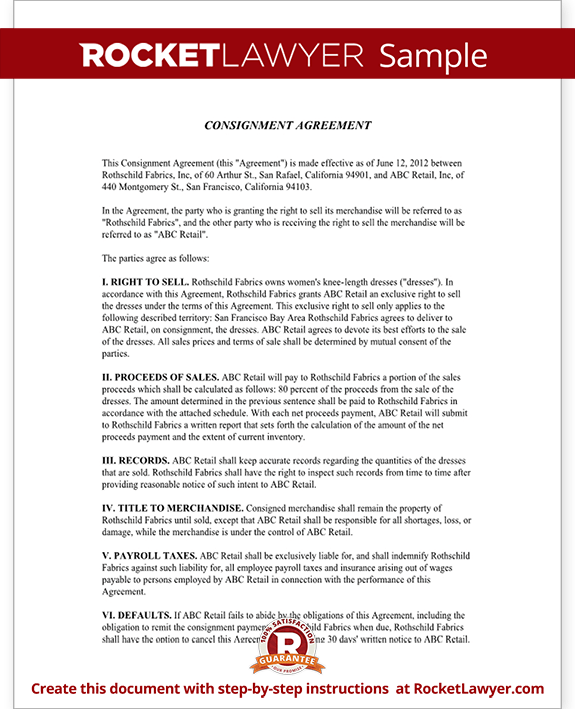Sample Free Consignment Agreement Contract | Start Business | Pinterest