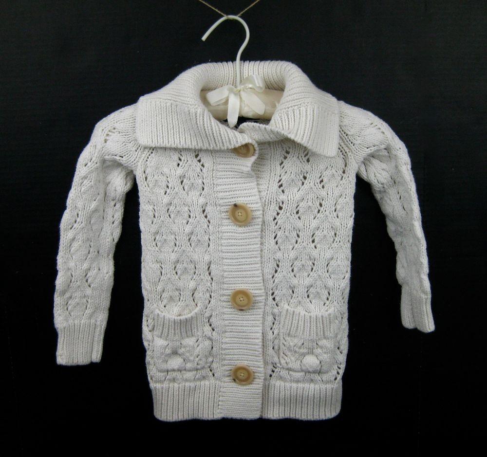 Gap Kids Girls Off White Cream Ivory Button Down Cardigan Sweater ...