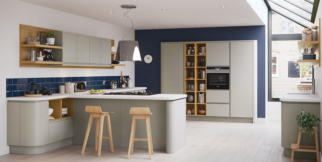 Einfaches wohnmöbel design wunderbare grifflose küche blau feature wände  für ausreichend