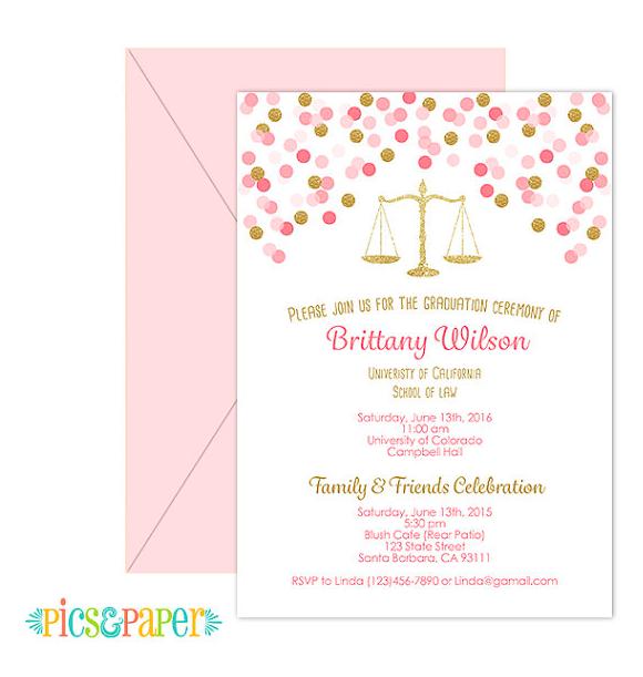 Law School Graduation Invitation Pink and Gold confetti Digital