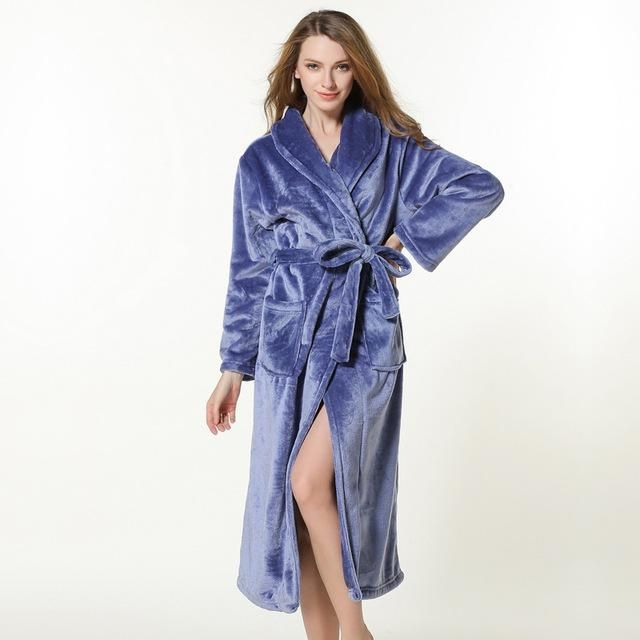 Plus size winter couples bathrobes for women quality thicken robes coral velvet  kimono robes women long 0b9cab409