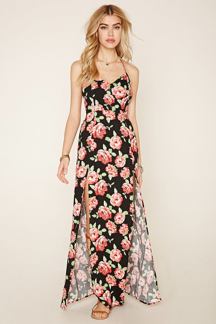 Floral Strappy Maxi Dress Dresses Pink Maxi Dress Casual Dresses For Women [ 1125 x 750 Pixel ]