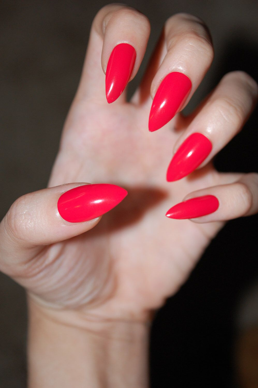 Bright Red-Orange Coral Full Cover Stiletto Nails *Set of 20* [Matte or Glossy] Neon nails,Fake nails,False nails,Dope nails,Stiletto nails by PicturePlurfect on Etsy https://www.etsy.com/listing/245005134/bright-red-orange-coral-full-cover