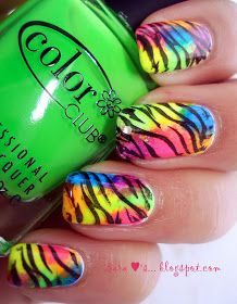 All Those Pretty Little Things: Reader Request - Neon Zebra Nails - TUTORIAL =]
