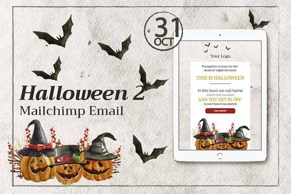 Halloween 2 Mailchimp Email by Khrysta Design™ on @creativemarket - halloween template