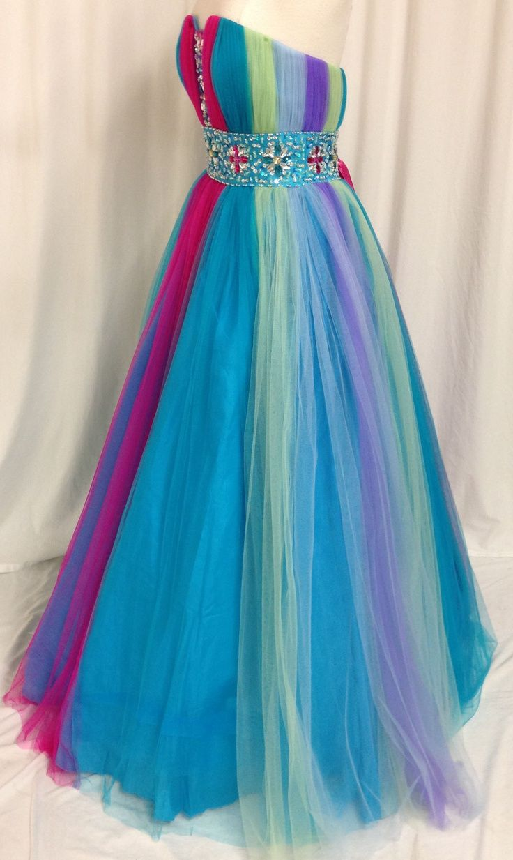 Rainbow Quinceanera Sweet Dance Ball Gown Dress Pageant Party