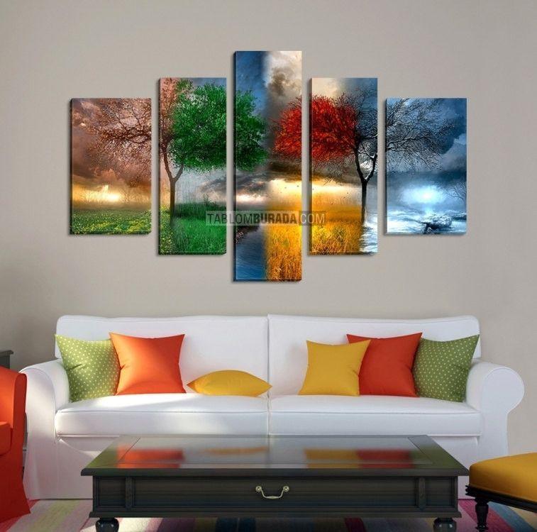 Canvas Art 4 Seasons Wall Print Large Four Giclee Framed 5 Panel Mc23