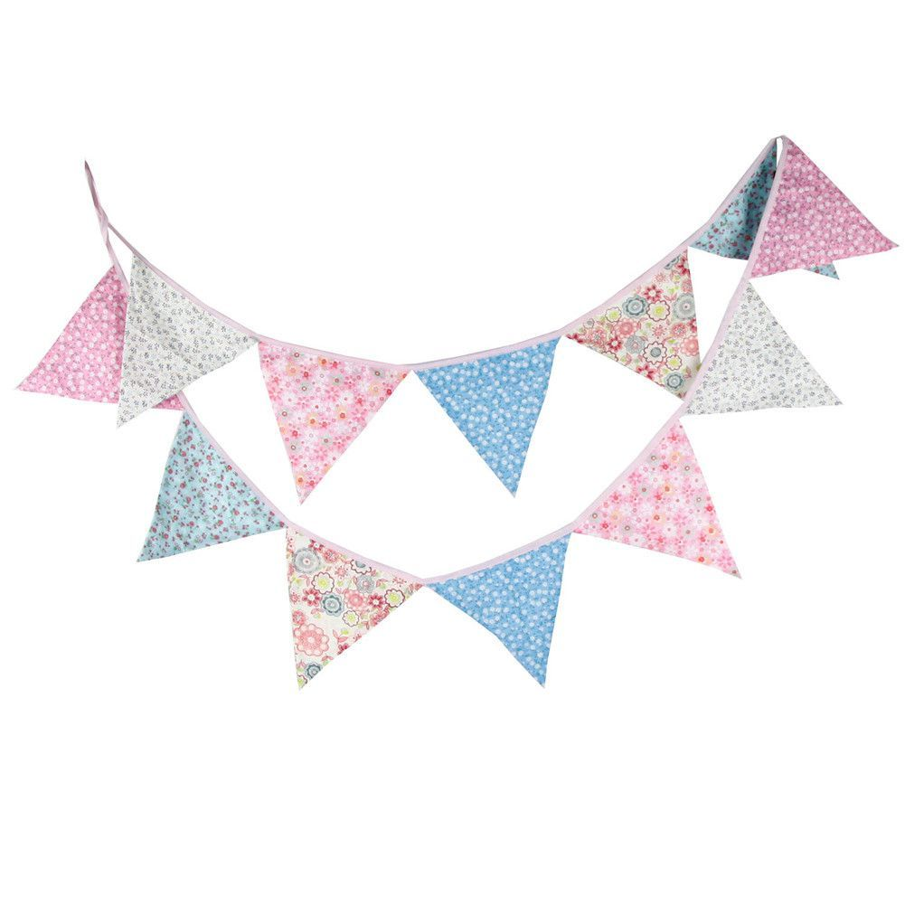 32m 12 Flags Cotton Fabric Flags Banner Bunting Pennant Wedding