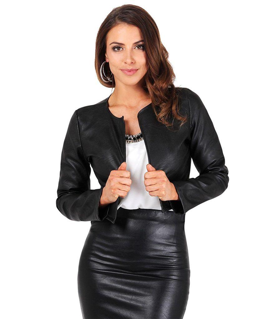 040268001e4 Womens Genuine Lambskin Leather Bolero Shrug Cropped Summer Jacket Long  Sleeves Women s Clothing Coats
