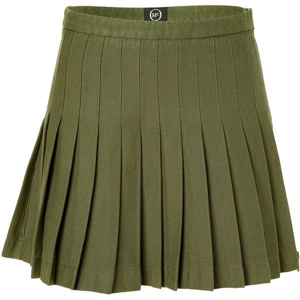 MCQ ALEXANDER MCQUEEN Military Green Pleated Skirt ($370) ❤ liked on Polyvore