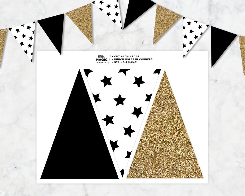 Monochrome Printable Pendant Flag Banner Black White Gold Star Printable Banner Gold Printable Pennant Flags Printable Banner