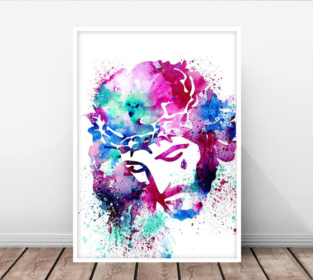 Jesus Watercolor Art Jesus Art Decor Christ Wall Art Christ Poster Christianity Poster Wall Decor Christmas Art C Jesus Art Christmas Art Watercolor Art