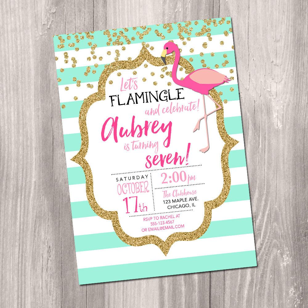 Flamingo Birthday Invitation, mint pink and gold glitter, let\'s ...