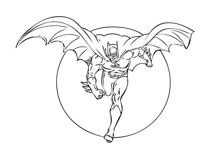 The Batman Heroes In Night Coloring For Kids