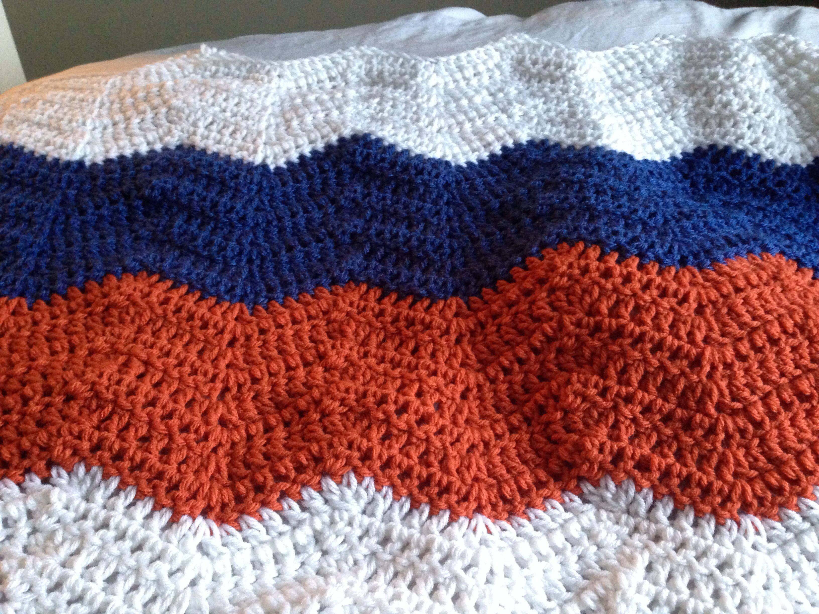 Oilers crochet ripple blanket | Crochet | Pinterest