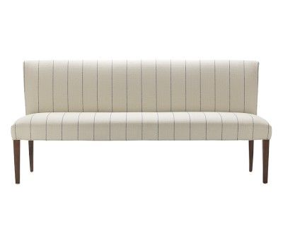 I Love The Fitzgerald Upholstered Bench French Stripe On Williams Sonoma Com Upholstered Dining Bench Dining Bench With Back Upholstered Bench Upholstered bench with back