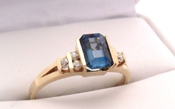 Estate 14K London Blue Topaz Diamond Ring by EclairJewelry on Etsy, $184.00
