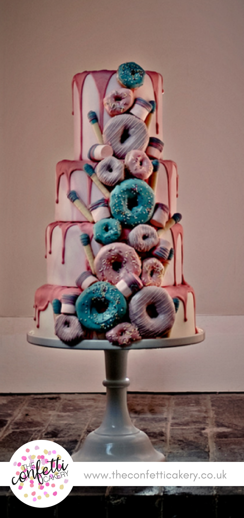 Delicious Doughnut Drip Wedding Cake The Confetti Cakery Image Samantha Hook