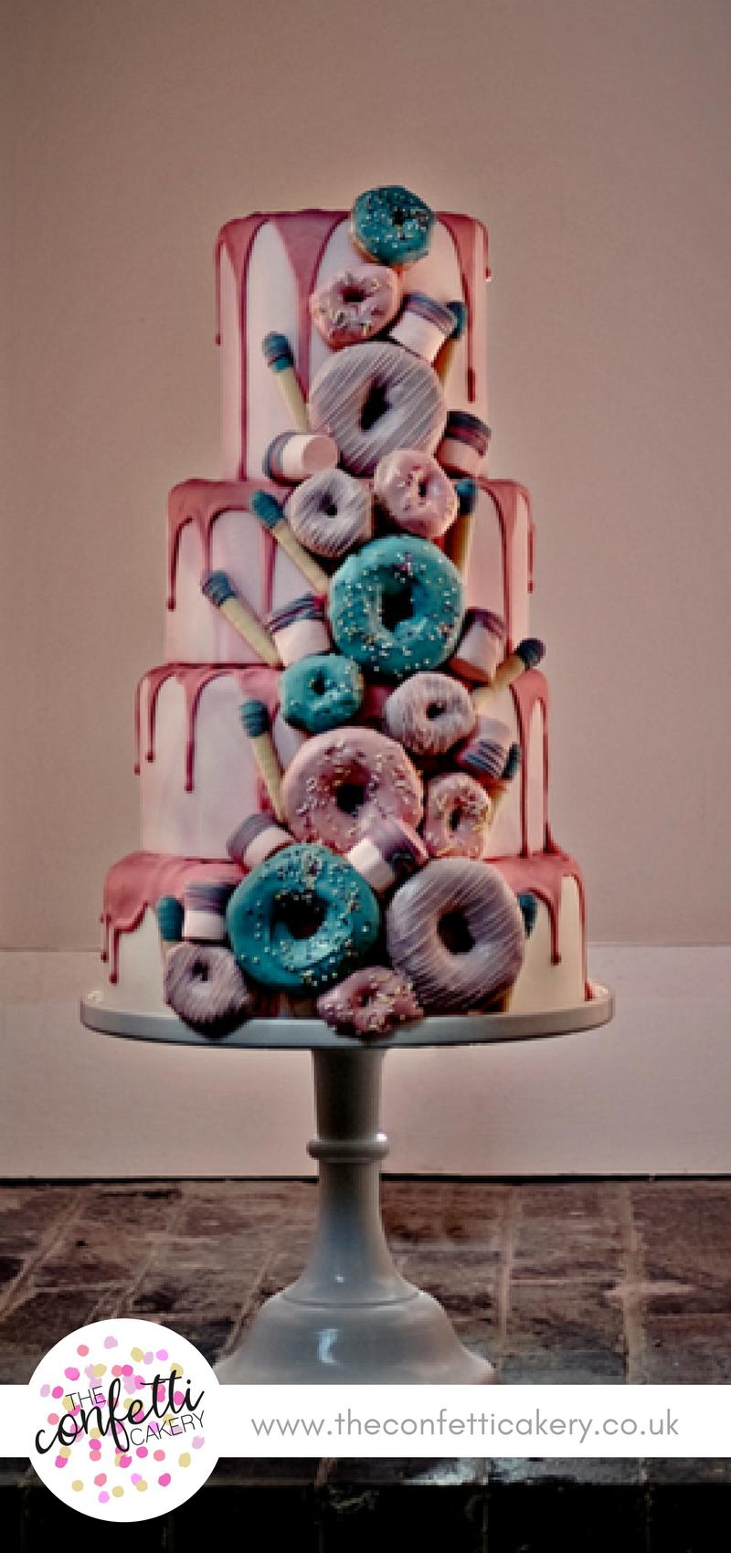 Delicious Doughnut Drip Wedding Cake The Confetti Cakery Image Samantha Hook